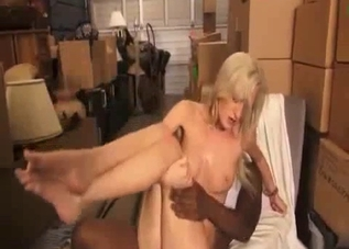 Tanned blonde fucking her black relative