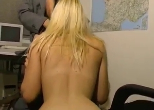 Blond-haired beauty masturbates as she blows daddy