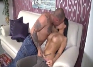 Big-breasted brunette fucks her father