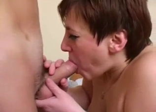 Fat ass short-haired MILF rides her son