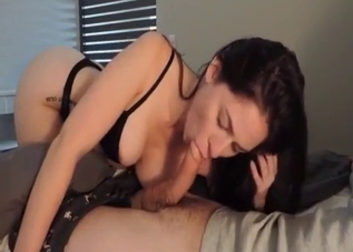 Dark-haired sister sucking it in POV