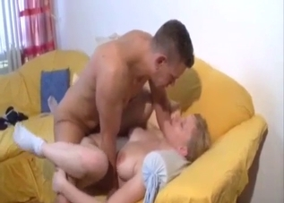 Busty blonde loves father's cock