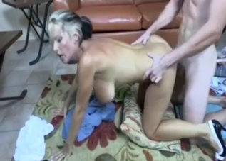 Big-breasted blonde fucked by her son