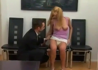 Playful blonde blows her hot daddy