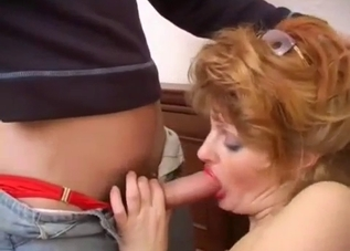 Thick-ass MILF sucking her son's cock
