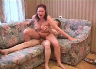 Obese MILF rides her son's cock