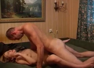 Leggy blonde fucked by her dad sideways