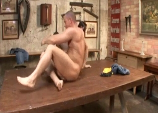 Sexy siblings fuck on a huge table