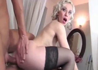 Stockings-clad blonde fucked hard