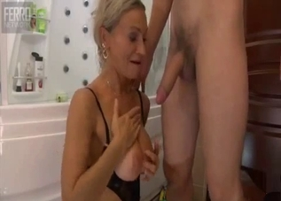 Tanned blonde hoe fucking her son