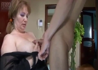 Lingerie-clad mommy fucks her son