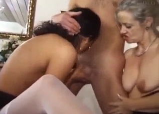 Two beautiful babes share dad's dick