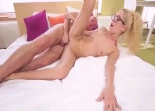 Glasses-wearing blonde ravaged by daddy