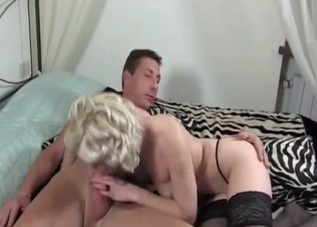 Stockings-clad blonde wants that dick