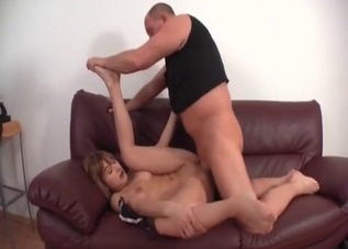 Teen with bangs bangs her daddy