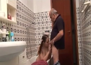 Pigtailed chick face-fucked by her father