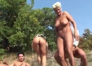 Violent four-way incest outdoors