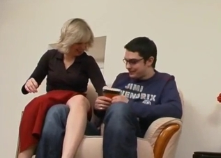 Short-haired mom fucks her nerd son