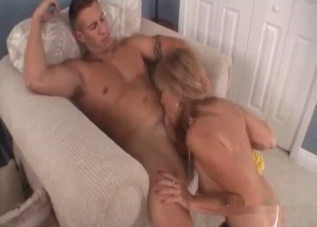 Pantyhose MILF blowing her son