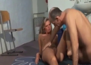 Tanned blonde worships this dick