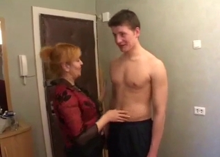 Redheaded hoe wants her son's cock