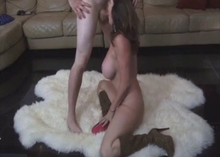 Boots-wearing MILF takes son's cock