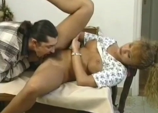 Blonde's pussy ravaged by her hung son
