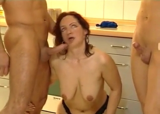 Stockings-clad MILF services her sons