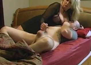Blonde sucking her son's perfect cock
