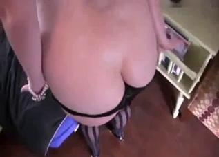 MILF in stockings sucks it in POV