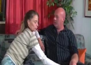 Leggy skinny slut seducing her dad