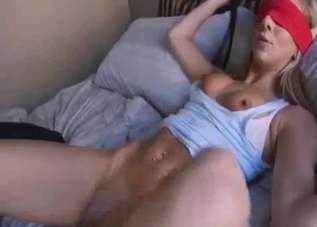 Blindfolded babe takes bro's cock