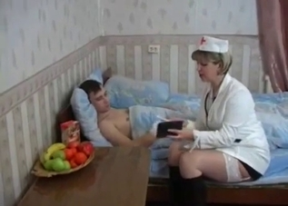 Mom dresses up as a nurse to fuck him