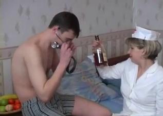 Mom dresses up as a nurse to fuck him