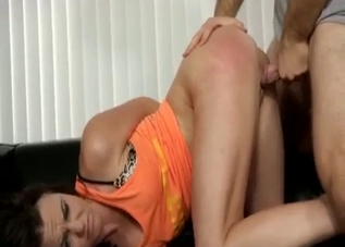 Dark-haired chick enjoying raw incest