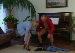 Mature blonde blows her brother