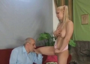 Pigtailed blonde masturbates in front of her dad