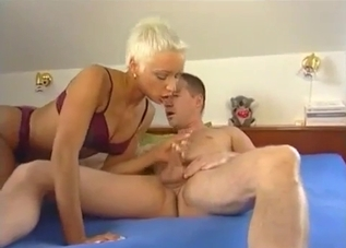 Tanned blonde MILF blows her brother