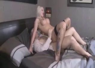 Fishnet-clad blonde enjoying incest
