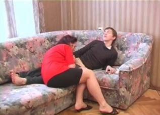 Bra-wearing MILF teases her son