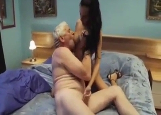 Brunette jerking her daddy off