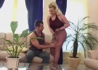 Thick pantyhose blonde fucks her son