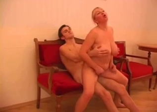 Fat blonde mom rides son's hot cock