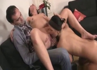Father watches his wife fuck the daughter